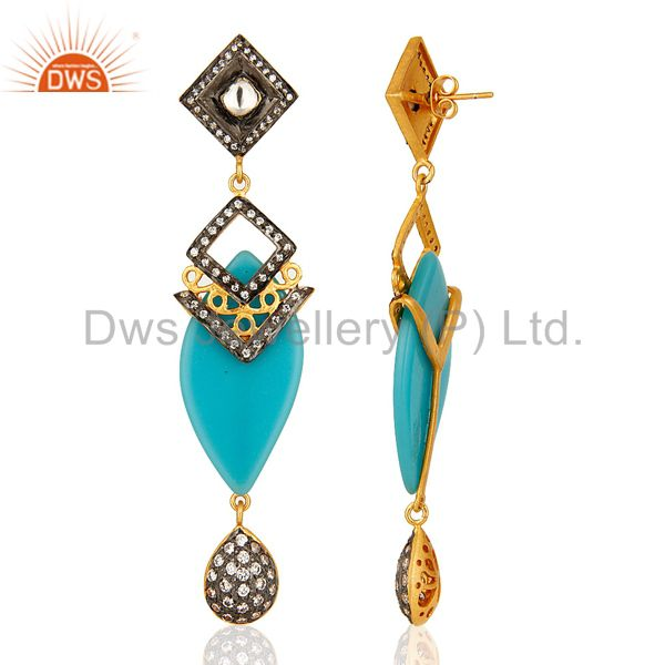 Suppliers 14K Yellow Gold Plated Blue Bakelite Handmade Dangle Earrings With CZ