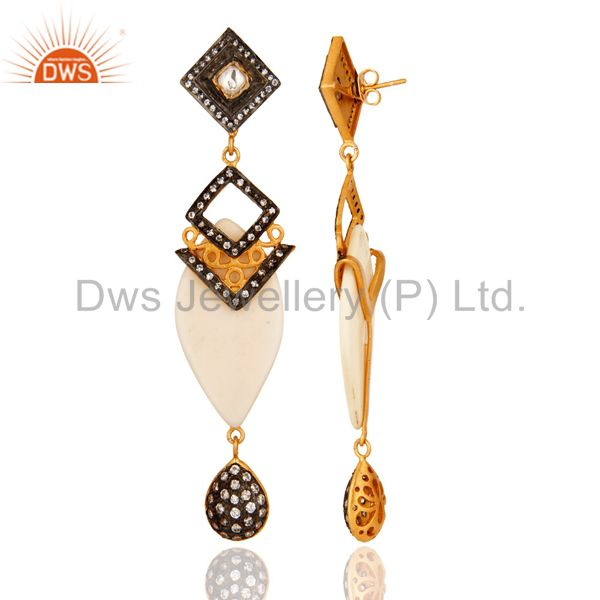 Suppliers Gold Plated Crystal Cubic Zirconia Polki Victorian Estate Style Dangle Earrings