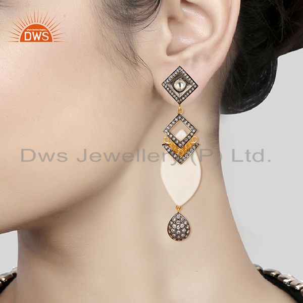 Suppliers 14K Gold Plated Sterling Silver Crystal Quartz & CZ Polki Victorian Earrings