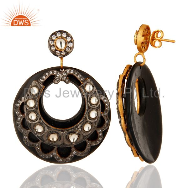 Suppliers 18K Gold Plated Crystal Polki & Zircon Victorian Style Black Bakelite Earring