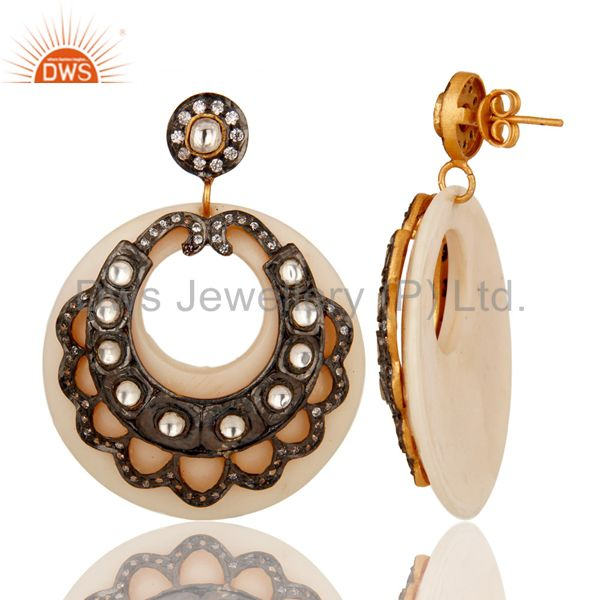 Suppliers 18K Gold Plated Crystal Polki & Zircon Victorian Style White Bakelite Earring