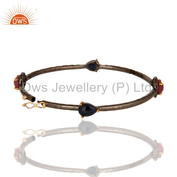 Suppliers Solid 14K Yellow Gold Ruby And Blue Sapphire Gemstone Bangle With Pave Set Diamo
