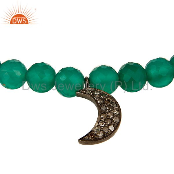 Suppliers 14K Gold Diamond Half Moon Charm Green Onyx Beads Bracelet With Magnetic Clasp