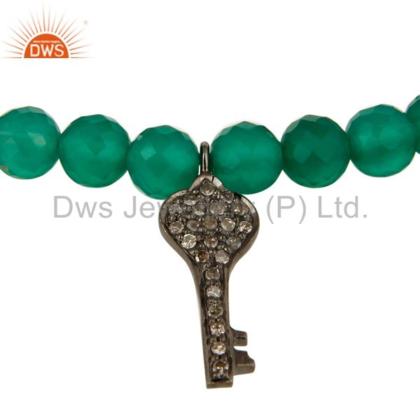 Suppliers 14K Gold Pave Diamond Key Charms Faceted Green Onyx Beads Bracelet Jewelry