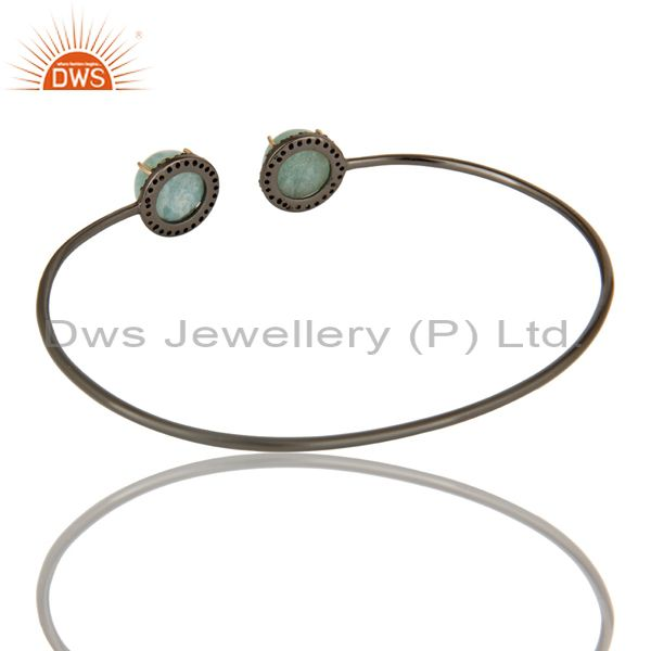 Suppliers 14K Gold Pave Set Diamond And Natural Larimar Sterling Silver Adjustable Bangle