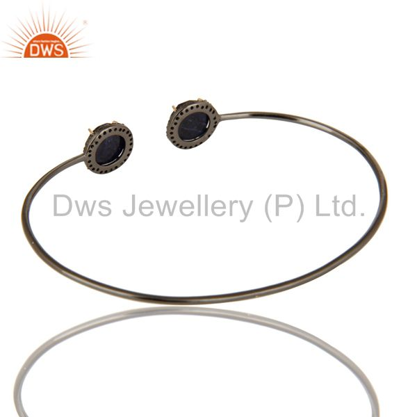 Suppliers Pave Set Diamond Natural Blue Sapphire Adjustable Bangle In 14K Gold And Silver