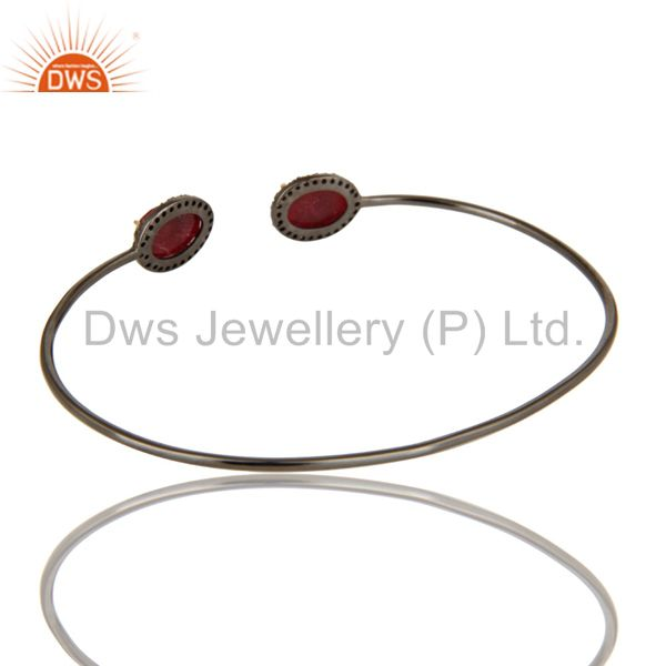 Suppliers Solid 14K Gold And Silver Dyed Ruby And Pave Set Diamond Adjustable Bangle