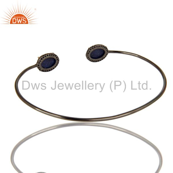 Suppliers Solid 14K Gold And Silver Blue Sapphire Pave Set Diamond Open Bangle Bracelet