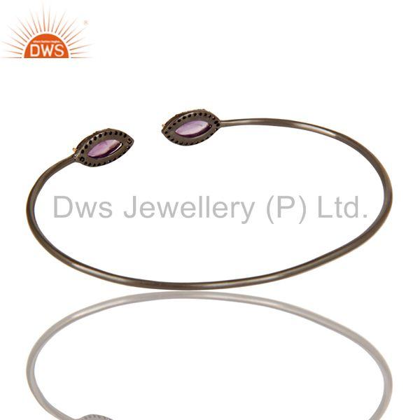 Suppliers Amethyst And Pave Diamond Stack Open Bangle In 18K Gold And Sterling Silver