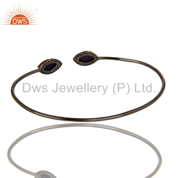 Suppliers 14K Yellow Gold And Sterling Silver Blue Sapphire Pave Diamond Openable Bangle
