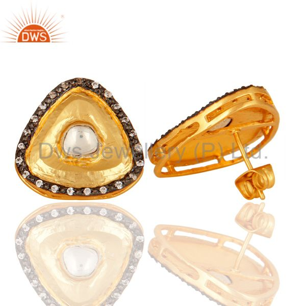 Suppliers 18K Yellow Gold Plated Brass Crystal Quartz Polki And CZ Stud Earrings