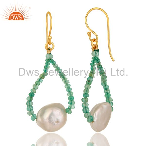 Suppliers Natural Emerald Gemstone 18K Solid Yellow Gold Dangle Hook Earrings With Pearl