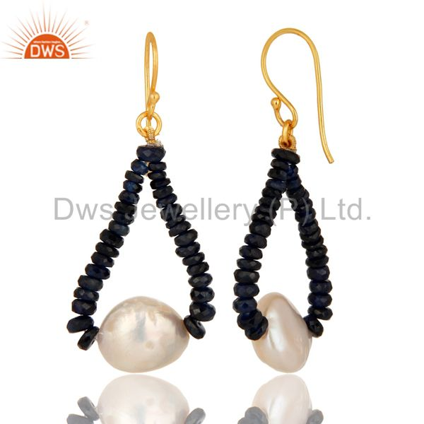 Suppliers 18K Yellow Gold Blue Sapphire Gemstone Dangle Earrings With Natural White Pearl