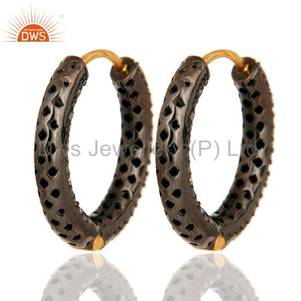 Suppliers Solid 14K Yellow Gold Micro Pave Setting Round Diamond Hoop Earrings