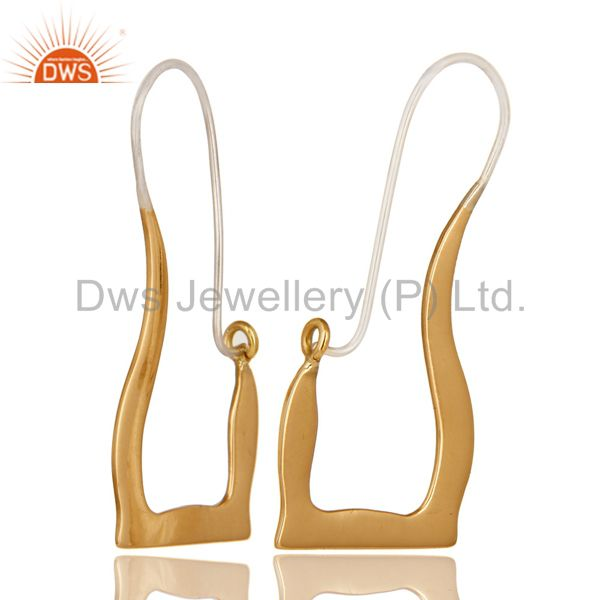 Suppliers 18k Solid Yellow Gold And Sterling Silver Handmade Hoop Earrings