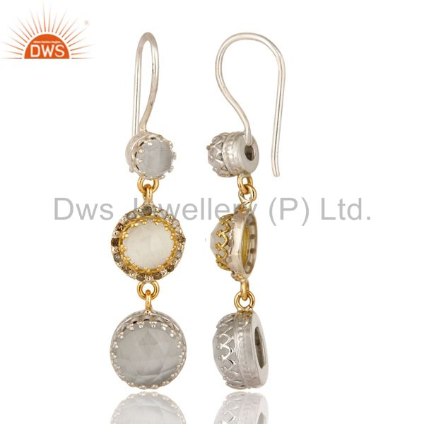 Suppliers 18K Gold And Sterling Silver Pave Diamond White Moonstone Dangle Earrings