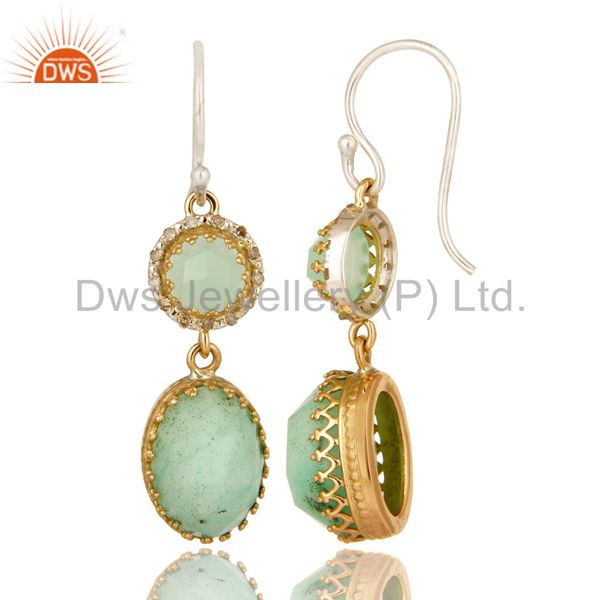 Suppliers Natural Chrysoprase 18K Yellow Gold Pave Diamond Sterling Silver Dangle Earrings