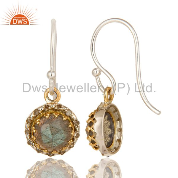 Suppliers 18K Gold And Sterling Silver Pave Diamond Labradorite Gemstone Dangle Earrings