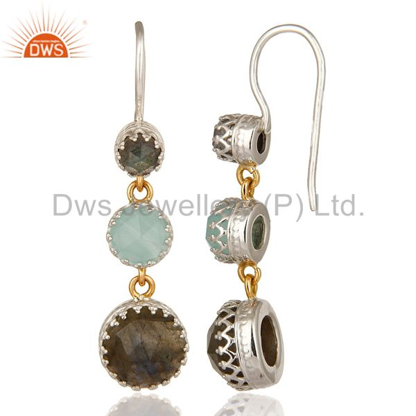 Suppliers 18K Yellow Gold And Sterling Silver Blue Chalcedony & Labradorite Dangle Earring