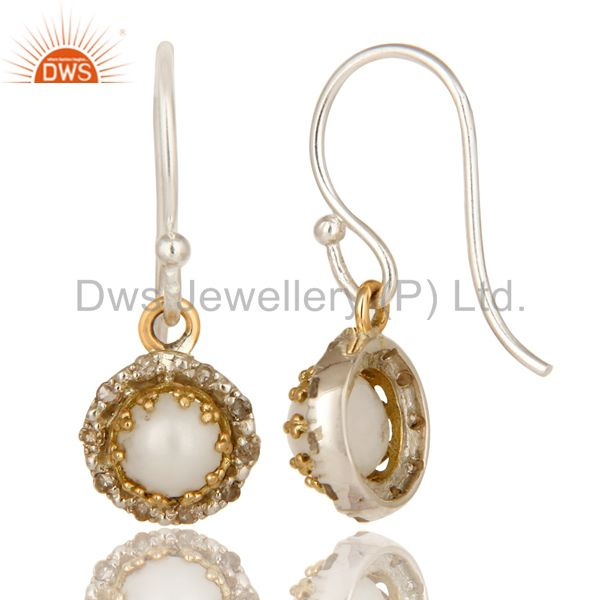 Suppliers 18K Yellow Gold And Sterling Silver Pave Diamond Pearl Hook Dangle Earrings