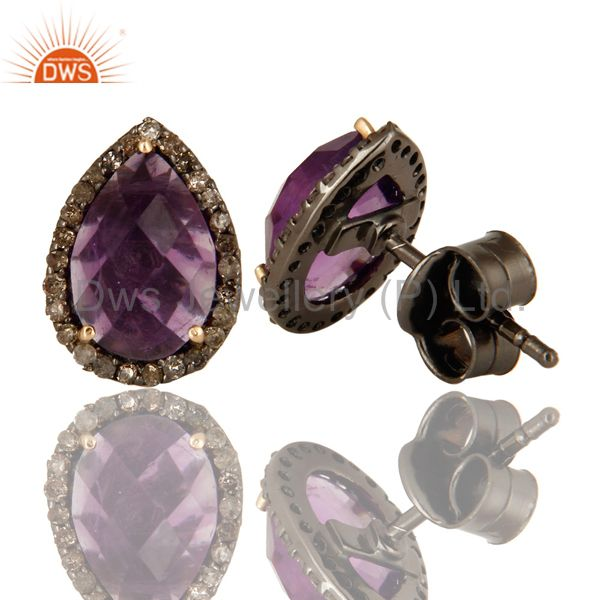 Suppliers 14K Yellow Gold And Sterling Silver Amethyst Pave Set Diamond Stud Earrings