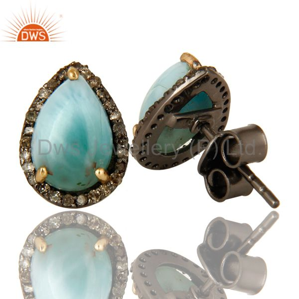 Suppliers Natural Diamond Pave Set And Larimar Gemstone Stud Earrings In 14K Yellow Gold