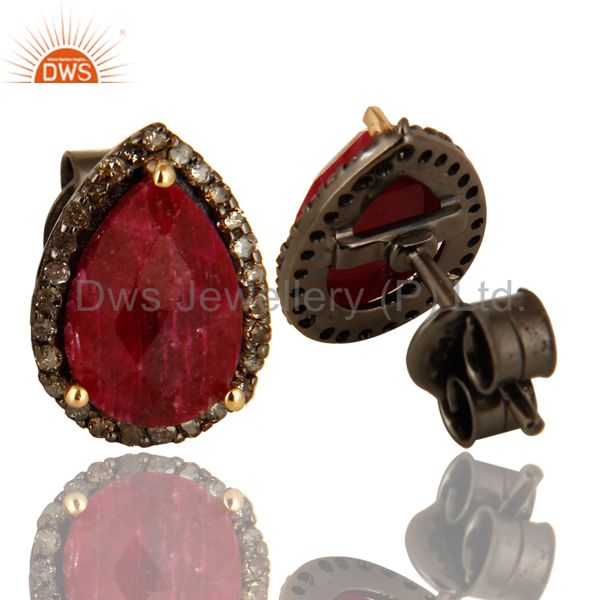 Suppliers Oxidized 14K Solid Yellow Gold Ruby And Pave Set Diamond Stud Earrings For Women