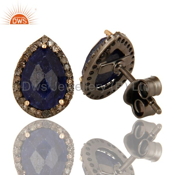 Suppliers 14K Yellow Gold Blue Sapphire And Pave Diamond Ladies Stud Earrings For Womens
