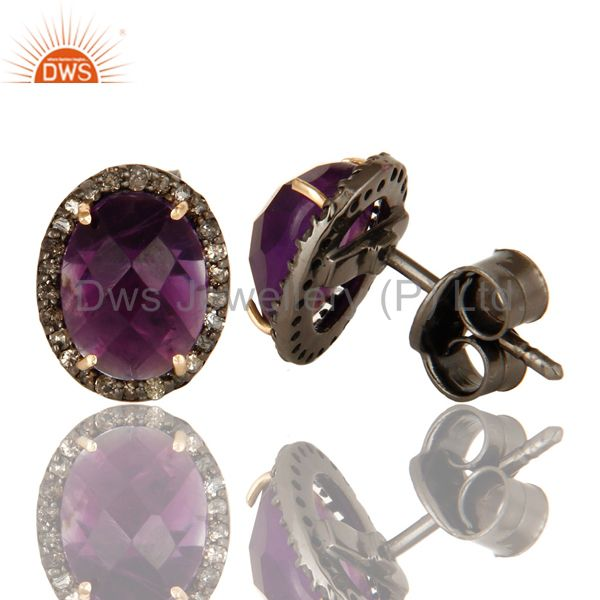Suppliers 14K Solid Yellow Gold Amethyst Gemstone Ladies Stud Earrings With Pave Diamond