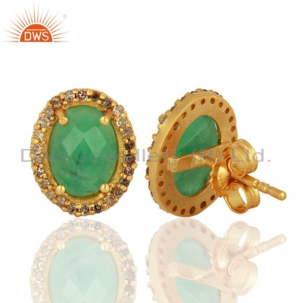 Suppliers Gold Plated Emerald gemstone Pave Diamond Stud Earrings Jewelry