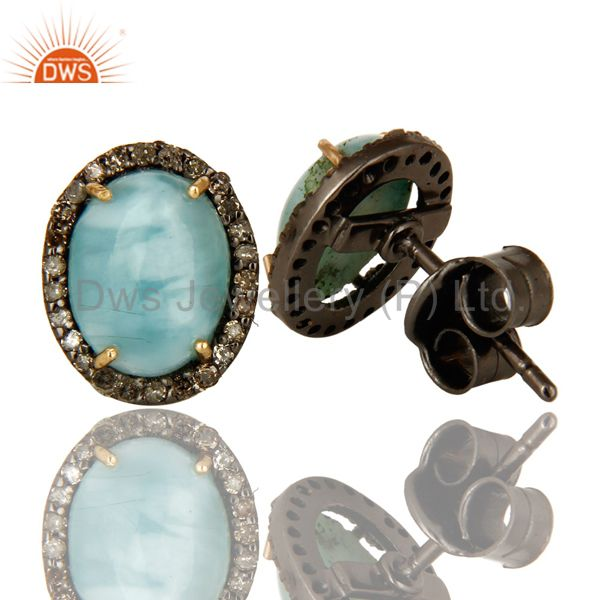 Suppliers Natural Larimar 14K Yellow Gold And Sterling Silver Pave Diamond Stud Earrings