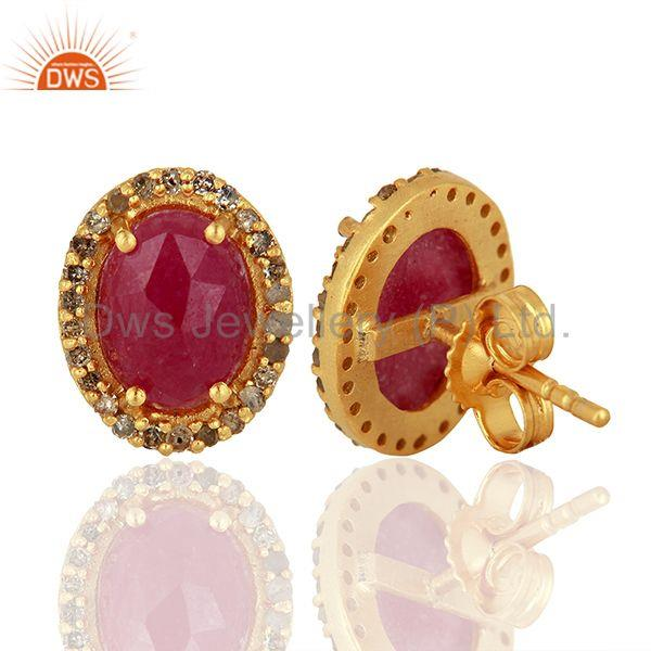 Suppliers Natural Ruby Gemstone Pave Diamond Gold Plated Stud Earrings Supplier