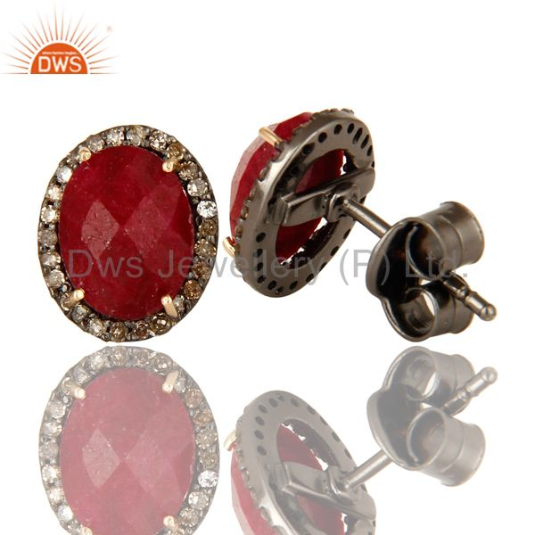 Suppliers Natural Ruby 14K Yellow Gold And Sterling Silver Stud Earrings With Pave Diamond