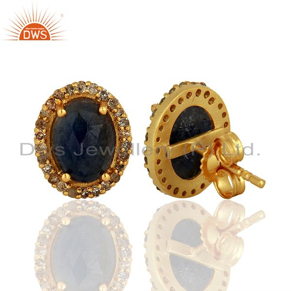 Suppliers 14k Gold 925 Silver Pave Diamond Blue Sapphire Gemstone Earrings