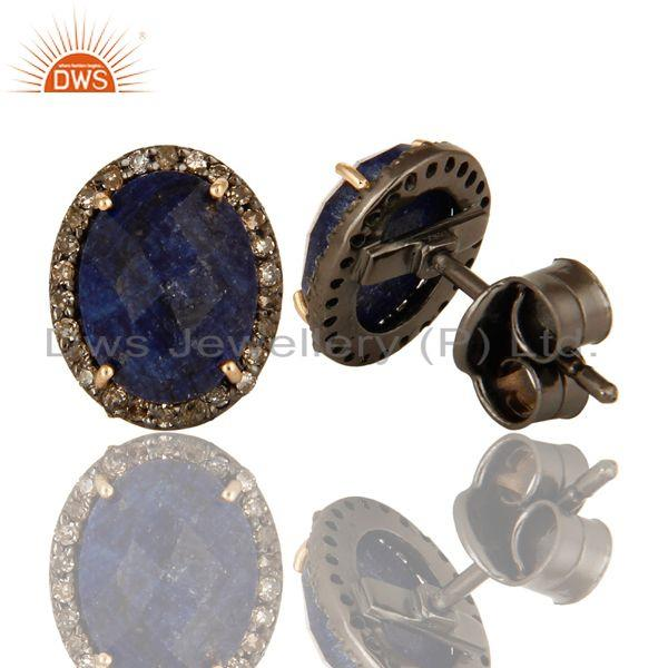 Manufacturer of Natural blue sapphire diamond set silver stud earrings jewelry