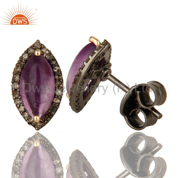 Suppliers Natural Amethyst Gemstone And Pave Diamond 14K Yellow Gold Stud Earrings