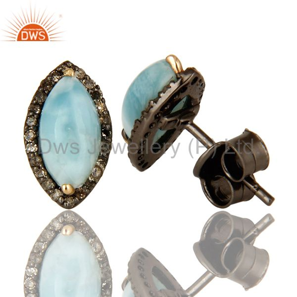 Suppliers Larimar 14K Yellow Gold And Sterling Silver Pave Diamond Womens Stud Earrings