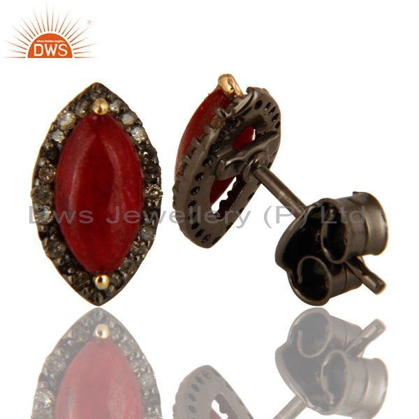 Suppliers Oxidized 14K Yellow Gold Pave Set Diamond ANd Ruby Stud Earrings For Womens