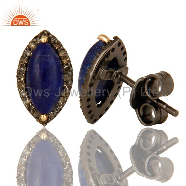 Suppliers Natural Sapphire 14K Yellow Gold And Sterling Silver Pave Diamond Stud Earrings