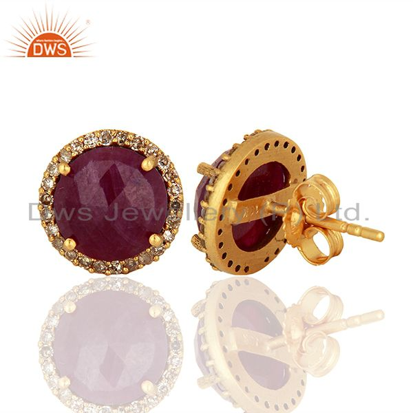 Suppliers Ruby Gemstone Diamond 18k Yellow Gold Stud Earrings Jewelry Manufacturer