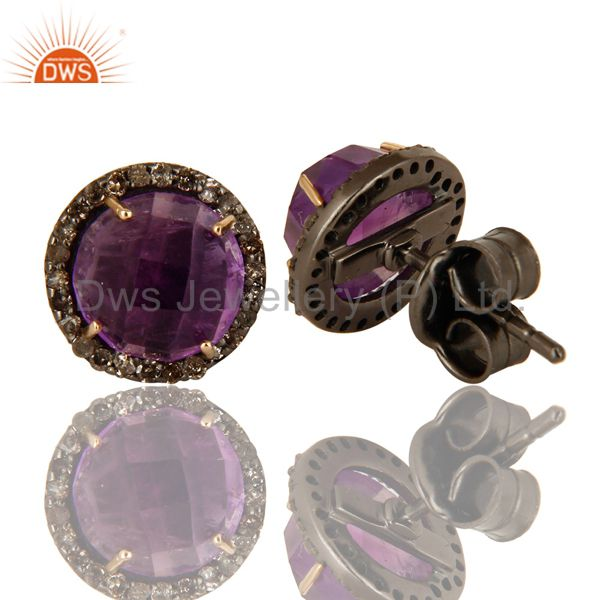 Suppliers 14K Yellow Gold Pave Diamond And Amethyst Round Stud Earrings For Womens