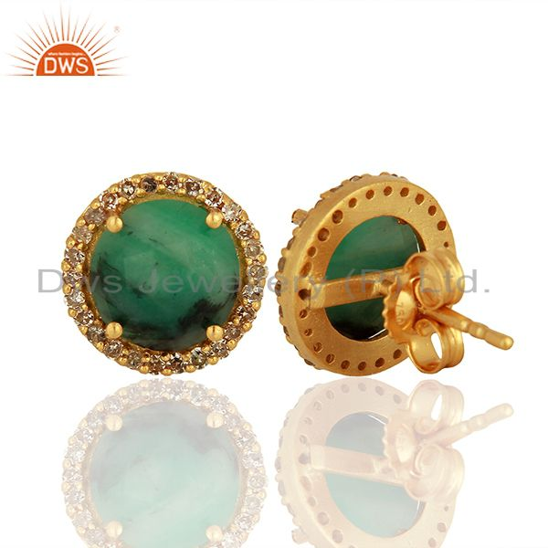 Suppliers 14k Gold 925 Silver Emerald Pave Diamond Stud Earrings Supplier