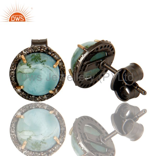 Suppliers 14K Yellow Gold Pave Set Diamond And Larimar Womens Stud Earrings