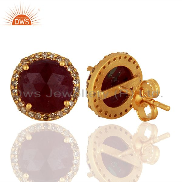 Suppliers Natural Ruby Pave Diamond 925 Silver Stud Earrings Manufacturer