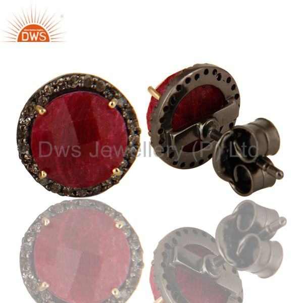 Suppliers 14K Solid Yellow Gold Diamond Framed And Ruby Round Stud Earrings For Womens