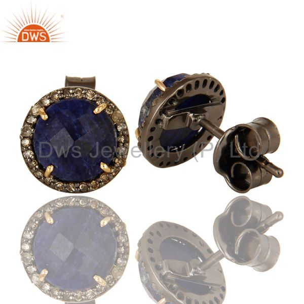 Suppliers 14K Solid Yellow Gold Sterling Silver Blue Sapphire Pave Diamond Stud Earrings