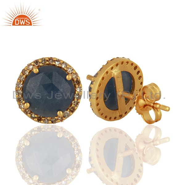 Suppliers Blue Sapphire Gemstone Pave Set Diamond Stud Earrings Supplier