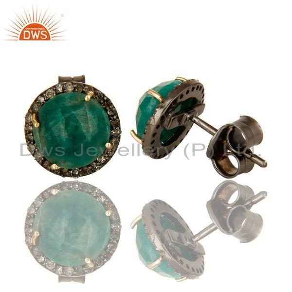 Manufacturer of Round emerald gemstone diamond set silver stud earrings jewelry