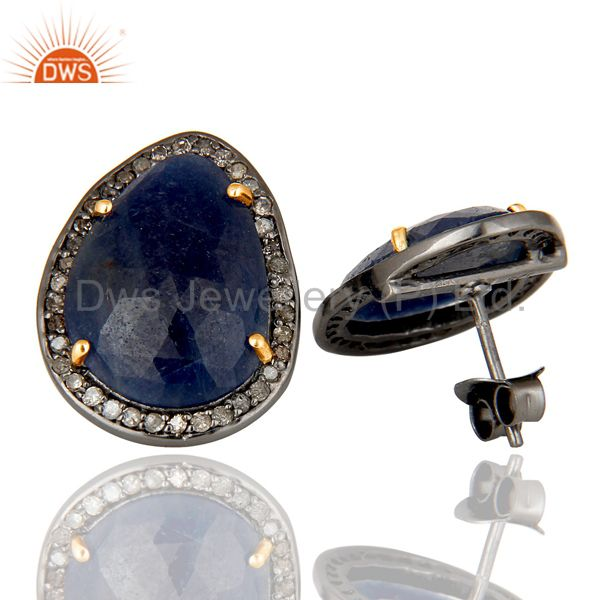 Suppliers Genuine 14K Yellow Gold Pave Diamond And Blue Sapphire Womens Stud Earrings