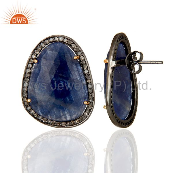 Suppliers Diamond and Blue Sapphire Black Oxidized Sterling Silver Stud